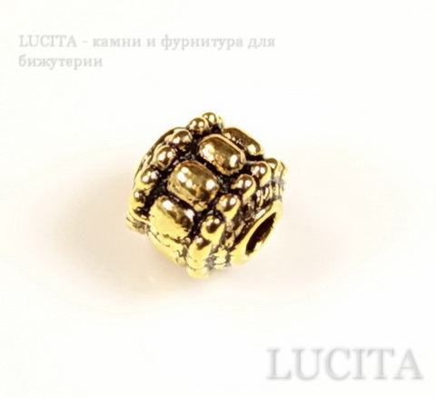 "Бусина металлическая ""Фонарик"" 7х7 мм (цвет - античное золото)"