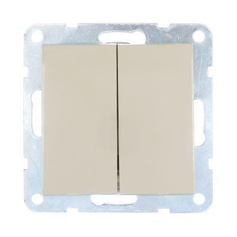 Выключатель двухклавишный, (схема 5) 16 A, 250 В~. Цвет Бежевый. LK Studio LK60 (ЛК Студио ЛК60). 861101