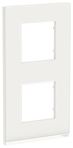 Рамка на 2 поста, вертикальная. Цвет Белое стекло/белый. Schneider Electric Unica Pure. NU6004V85