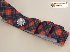 Лента репсовая черно-красная шотландка 38 мм