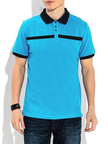 14055-10 поло мужское, черно-голубое