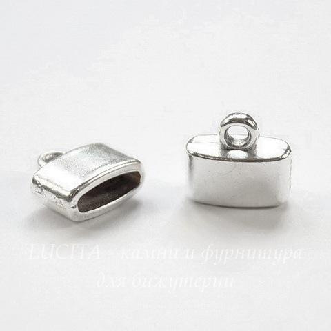 Концевик для плоского шнура 9х2,5 мм (цвет - античное серебро) 11х11х5 мм, 2 штуки
