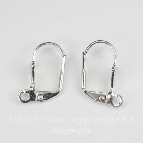 """Швензы с французским замком """"Ракушка"""", 16х6 мм (цвет - платина)"""
