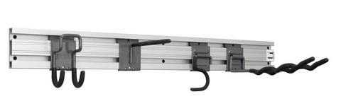 Алюминиевый рельс L 1200 мм для садовых и рабочих инструментов. Крепление к стене.