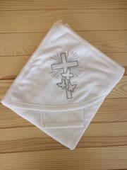 Пеленка-полотенце крестильная (Турция) (белый, махра, вышывка серебряной нитью, (70*70))