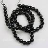 Бусина Жадеит (тониров), шарик с огранкой, цвет - черный, 6 мм, нить