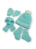 Вязаный комплект - Бирюзовый. Одежда для кукол, пупсов и мягких игрушек.
