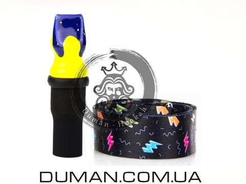 Персональный мундштук Gusto Bowls (Густо Болс) |Blue-Yellow Flash