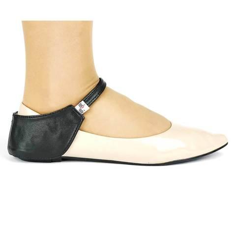 Автопятка из натуральной кожи для женской обуви без каблука черная