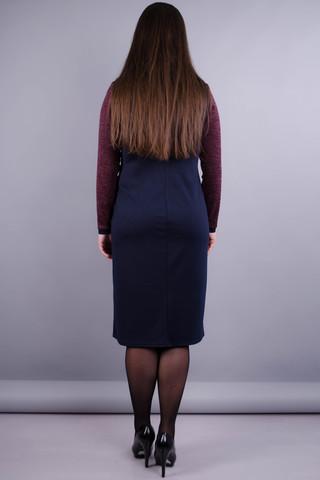 Альфа. Сукня великих розмірів для жінок. Бордо/синій.
