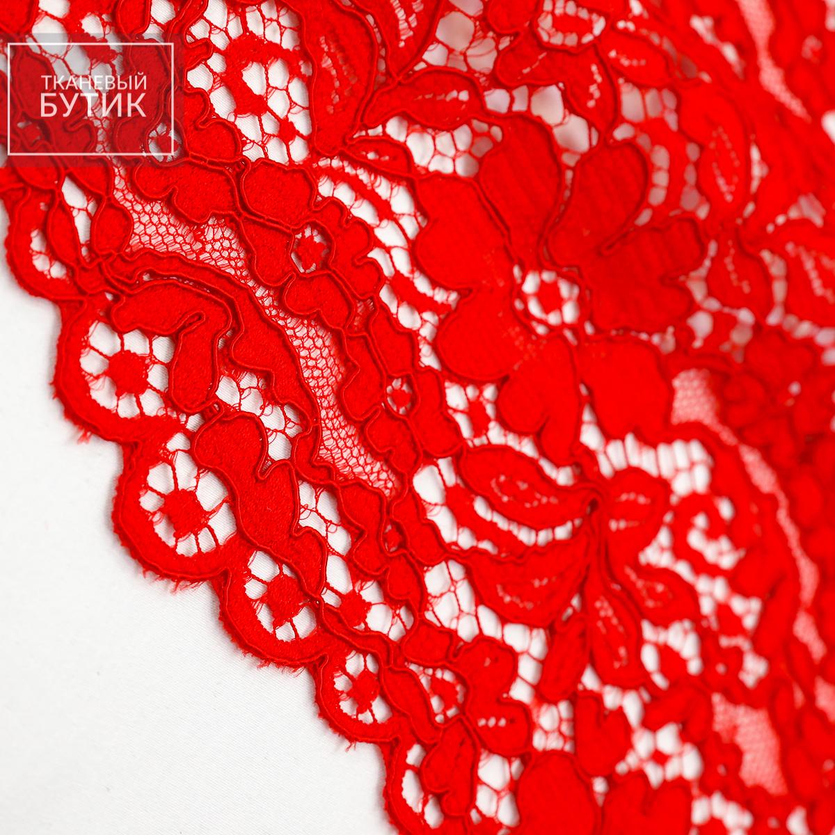 Хлопково-вискозное кордовое кружево красного цвета