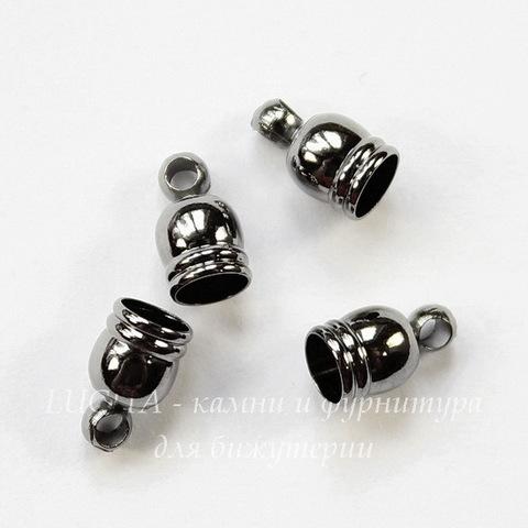 Концевик для шнура 4 мм, 8х5 мм (цвет - черный никель), 4 штуки