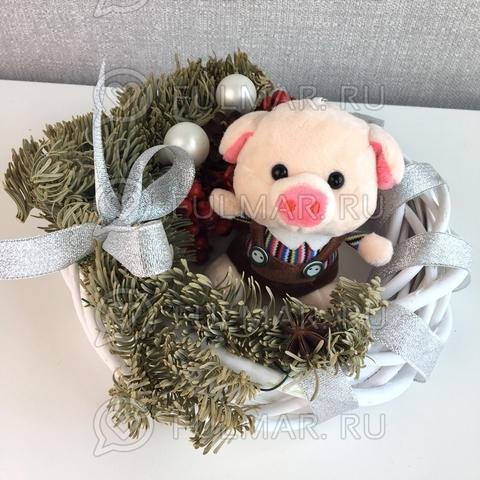 Поросёнок брелок Мистер Хрю символ 2019 года свинья (полосатый-коричневый)