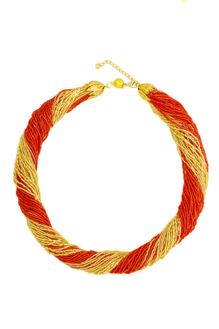 Бисерное ожерелье из 48 нитей ярко-красно-золотистое
