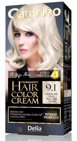 Delia Cosmetics Cameleo Крем-краска для волос тон 9.1 ультра пепельный блондин