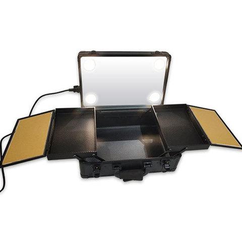 Бьюти кейс визажиста на колесиках (мобильная студия) LC019 Black