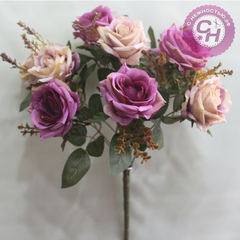 Букет роз Евро двухцветные, 9 цветков, 7-8 см.