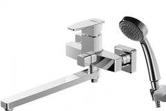 Смеситель для ванны с длинным изливом и душевой лейкой Bravat Riffle F672106C-B