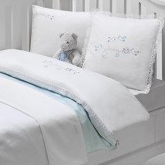НАБОР ЯСЛИ Детское постельное белье с пледом  COUPLE BEBE голубой deluxe TIVOLYO HOME Турция