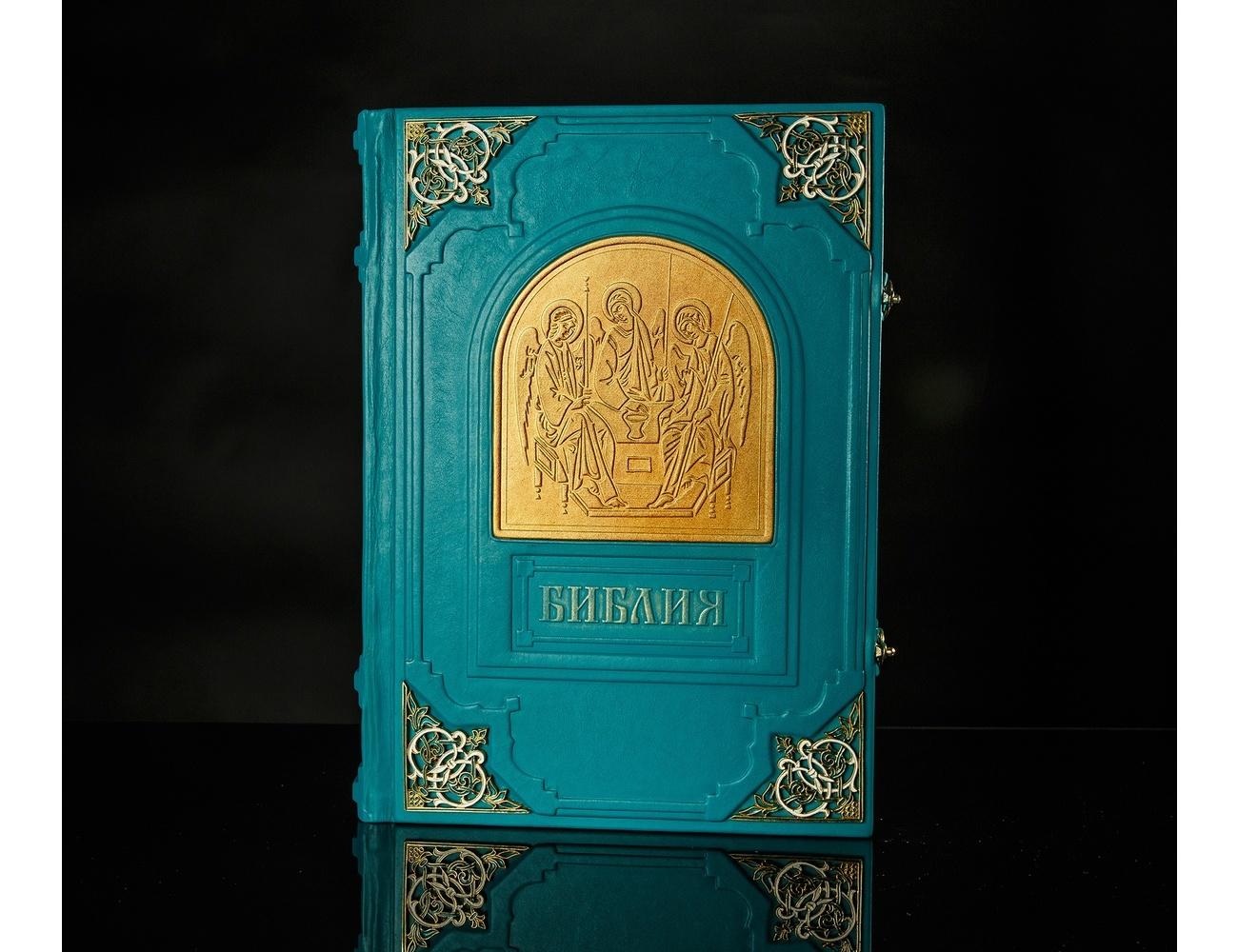 Библия (с эмалевыми уголками и замками, золотым обрезом и индексами, в футляре) от 15 500 руб