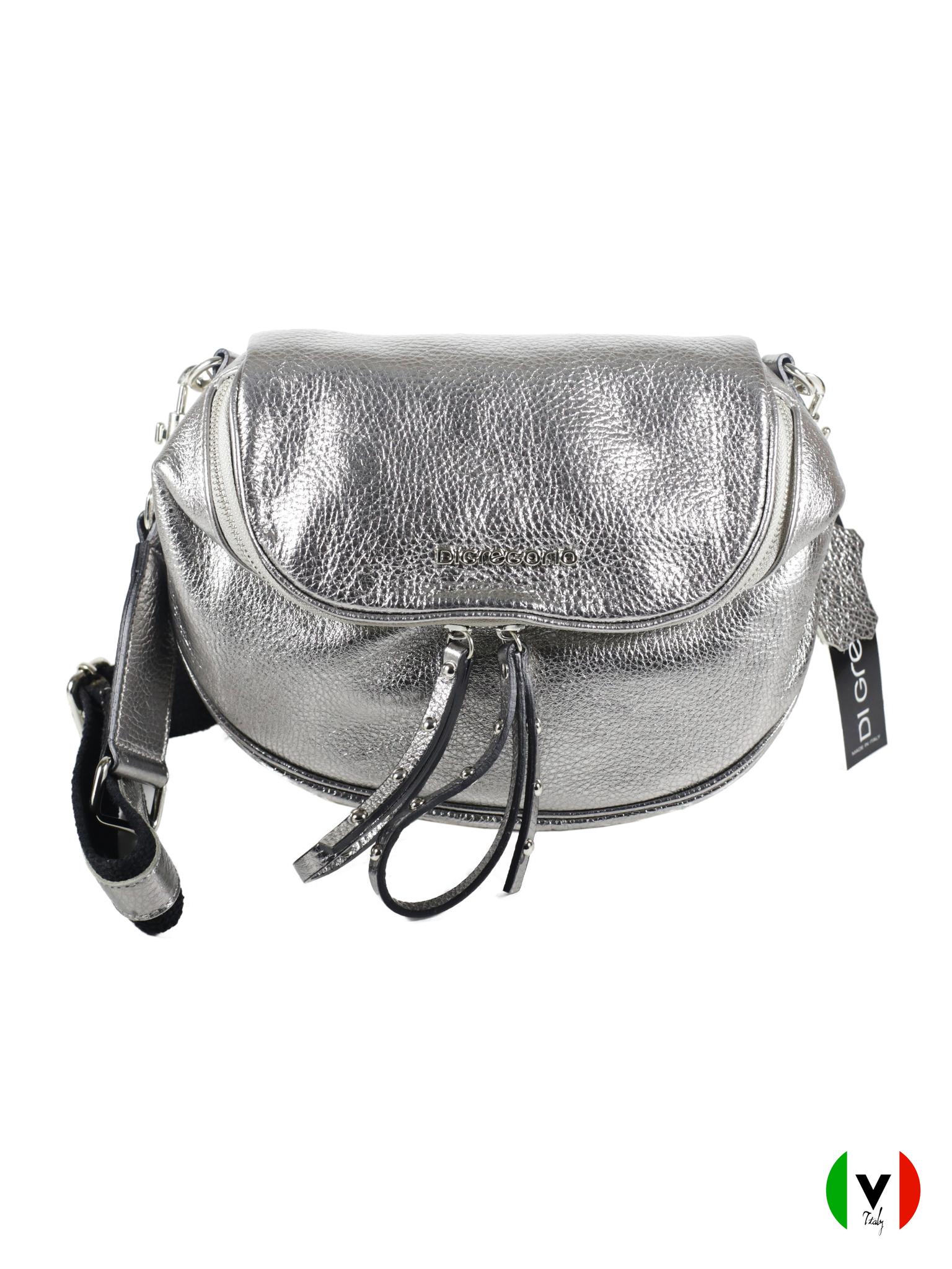 Мягкая сумка Di Gregorio серебряного цвета 8683-silver, артикул 8683-silver, цвет чёрный, цена 10 500 руб., veroitaly.ru