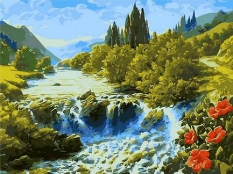 Водопад в долине - раскраски по номерам
