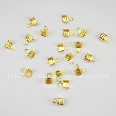 Концевик обжимной для шнура 3,5 мм, 7х4 мм (цвет - золото), 20 штук