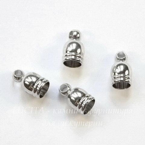 Концевик для шнура 4 мм, 8х5 мм (цвет - платина), 4 штуки