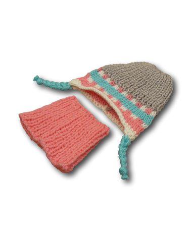 Шапка и шарф - Серый / розовый. Одежда для кукол, пупсов и мягких игрушек.