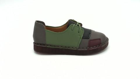 Многоцветные кожаные полуботинки без каблука