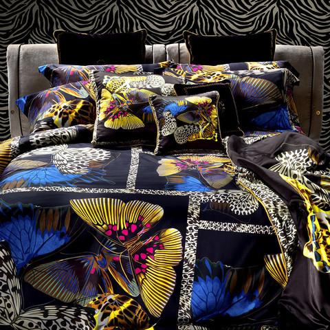 Постельное белье 2 спальное Roberto Cavalli Papillon черное