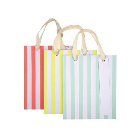 Пакеты подарочные в полоску, неон, 12,5х15см, 3шт.