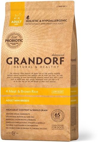 Grandorf Dog Probiotic Mini сухой корм с пробиотиками для собак мелких пород (4 мяса с рисом) 1 кг
