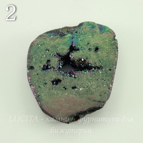 Бусина Агат с Кварцем с жеодой (тониров), цвет - бензиновый, 27-29 мм (№2 (27х24 мм))