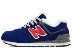 Кроссовки Женские New Balance 574 Blue Red Winter Edition С Мехом