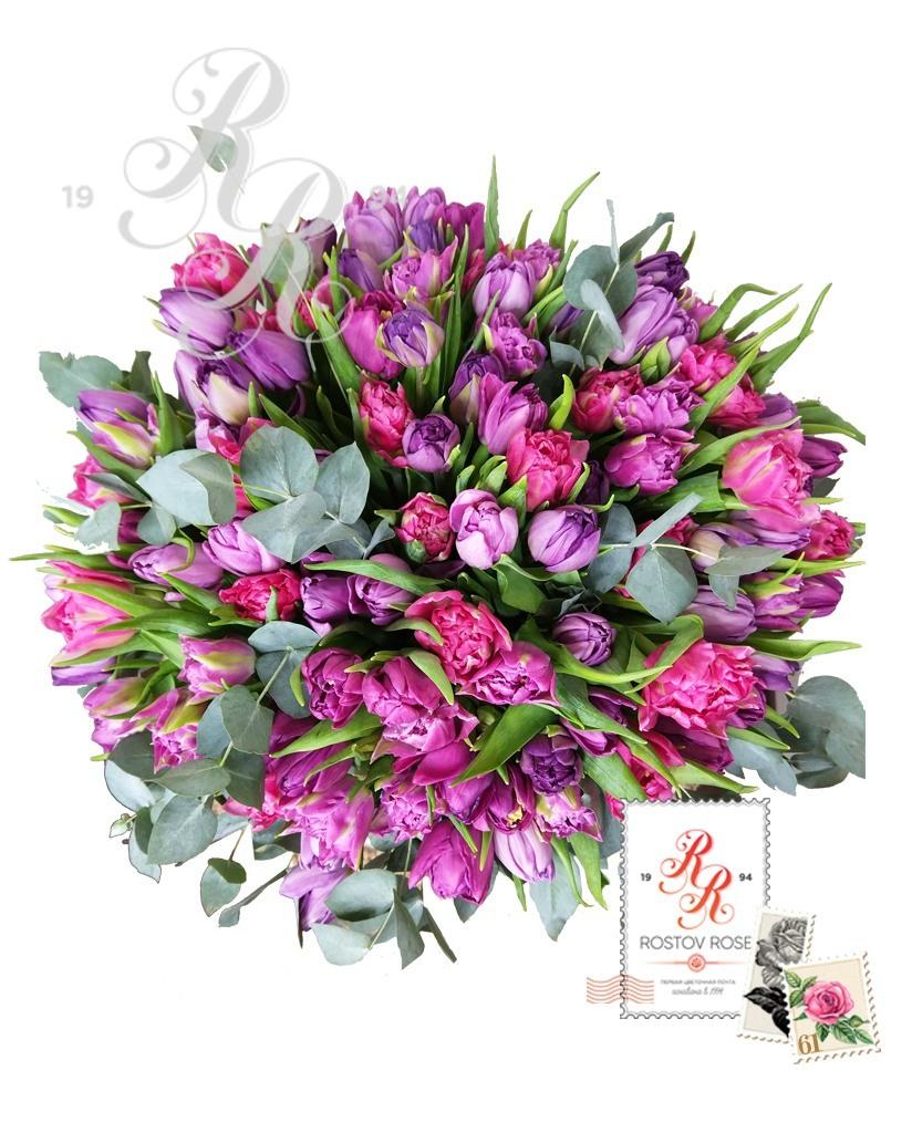 Сиренево-фиолетовый микс из пионовидных тюльпанов