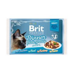 Brit Premium 82% мяса Набор паучей для кошек Dinner Plate Gravy Кусочки в соусе 4x85 г