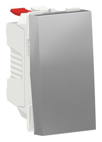 Выключатель одноклавишный. 1 модуль. Цвет Алюминий. Schneider Electric. Unica Modular. NU310130
