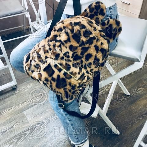 Рюкзак леопардовый плюшевый с ушками (цвет: классика)