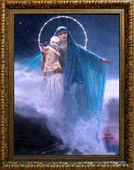 Усмирительница моря. Икона-картина Богородицы на льняном холсте.