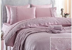 Набор КПБ с покрывалом +полотенце Charlotte  лиловое Gelin Home  евро