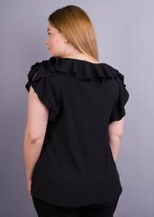 Руна. Легкая офисная блуза плюс сайз. Черный.