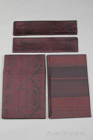 Постельное белье 2 спальное евро макси Carrara Ba-rock коричневое