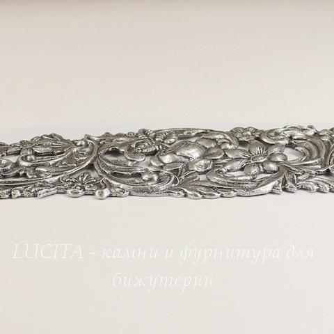"Винтажная основа для браслета ""Цветы"" 123х34 мм (оксид серебра)"