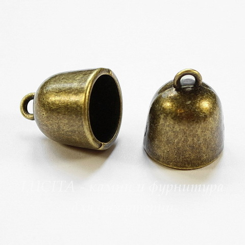 Концевик для шнура 11 мм (цвет - античная бронза) 16х14 мм