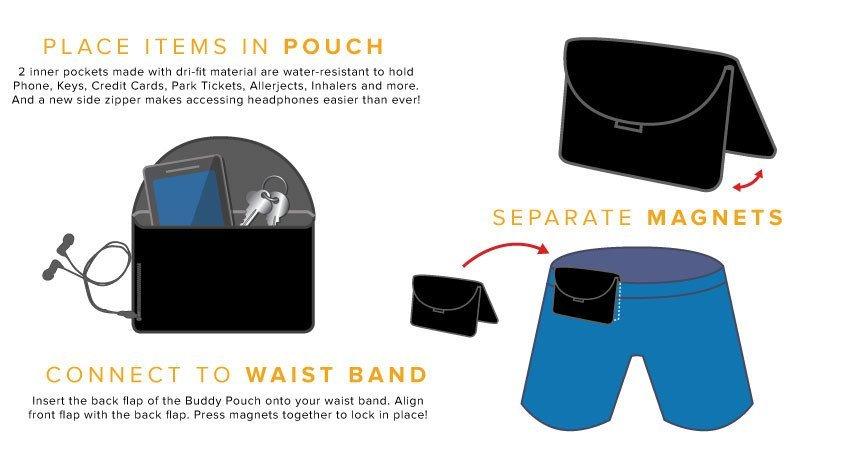 Сумка чехол на магнитах для бега, спорта и туризма Buddy Pouch - размер XL