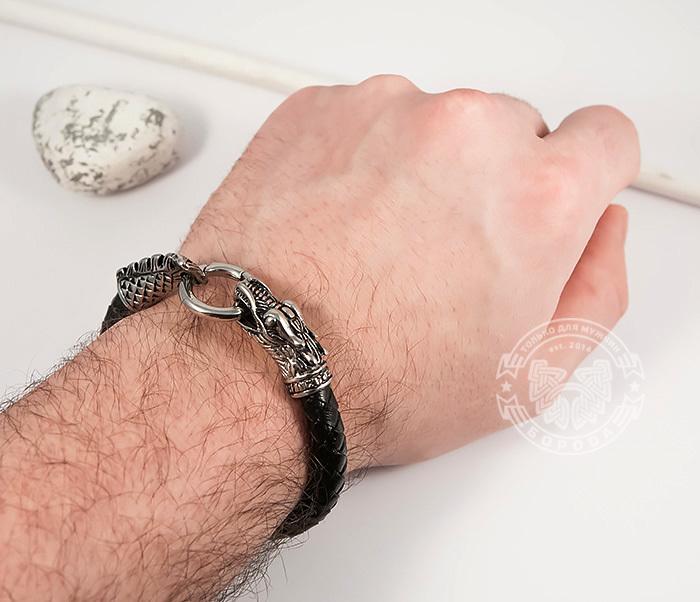 BM414 Оригинальный браслет из кожи со стальным драконом (19 см) фото 07