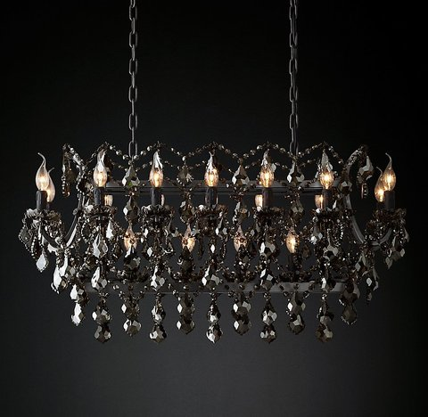 19th C. Rococo Iron & Smoke Crystal Rectangular Chandelier 40