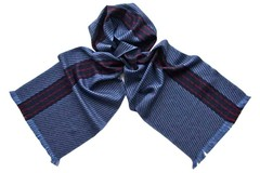 Шерстяной шарф синий 01902