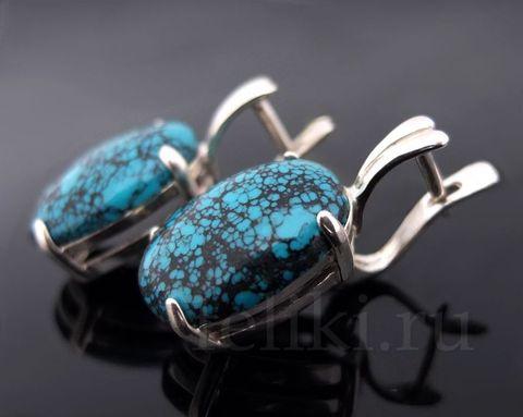 серебряные серьги с тибетской бирюзой, размер вставки 13*18 мм